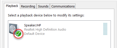 Computer default Sound device