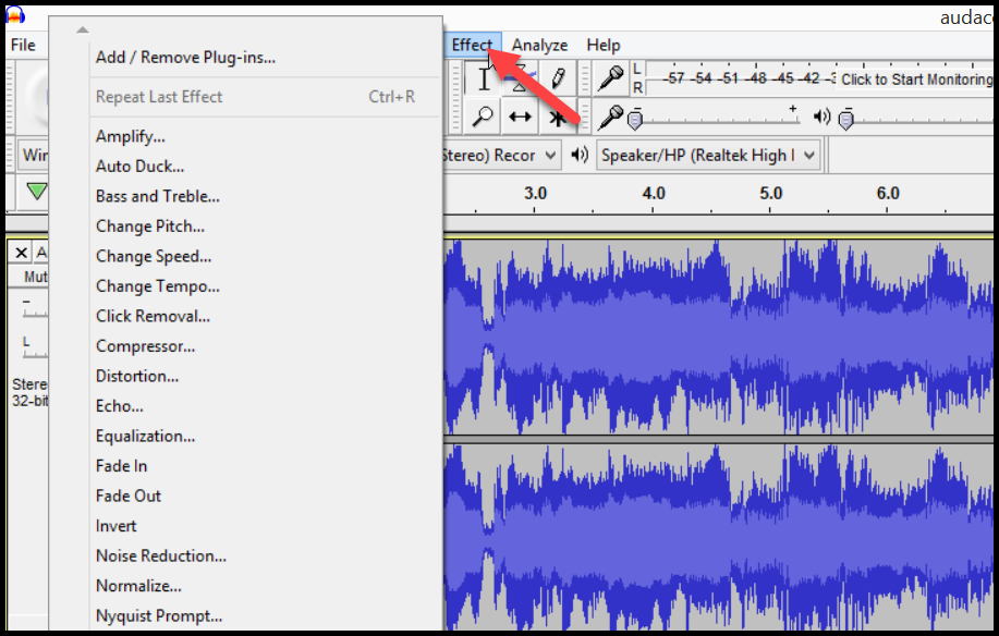 Audacity Add effects