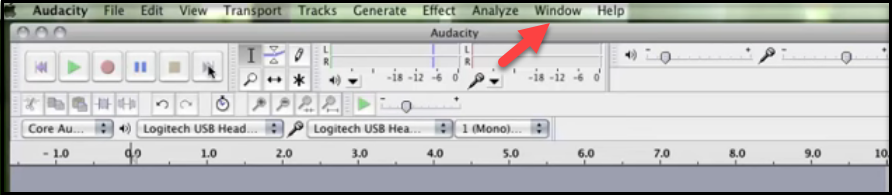 Audacity Window menu